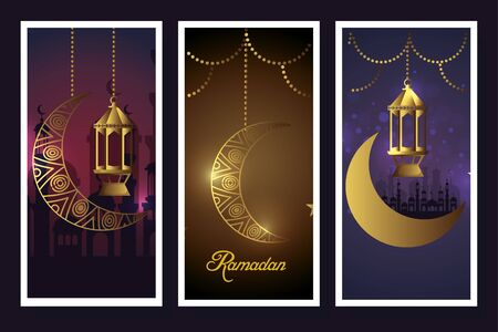 set moons and lanterns hanging of ramadan kareem vector illustration design