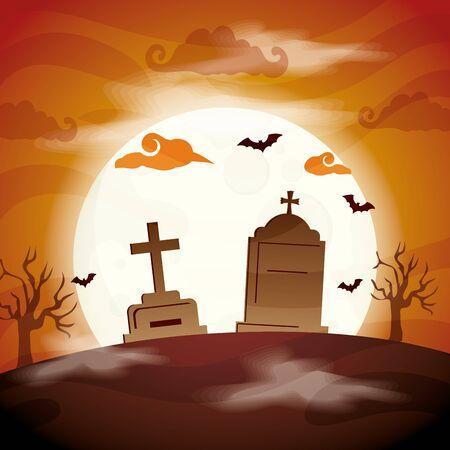 tombs of cemetery in scene halloween vector illustration design Ilustracja