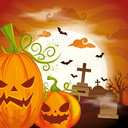 pumpkins in cemetery scene halloween vector illustration design 일러스트