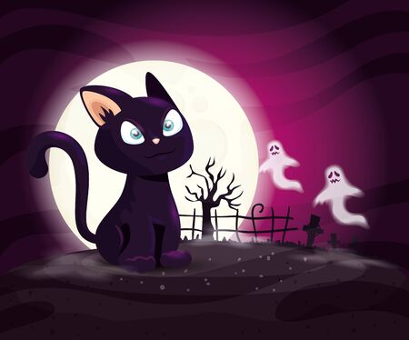 cat with ghosts mysteries in halloween scene vector illustration design