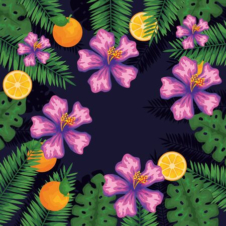 exotic flowers with orange fruits and leaves to summer banner vector illustration