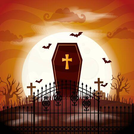 halloween coffin spooky in cemetery vector illustration design