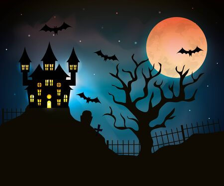 haunted castle with dry tree in halloween scene vector illustration design Иллюстрация