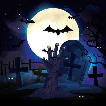 hand of zombie in the dark night and halloween scene vector illustration design