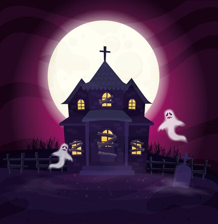 ghosts with abandoned house in halloween scene vector illustration design Ilustração
