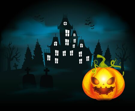 haunted castle with pumpkin in scene halloween vector illustration design 일러스트