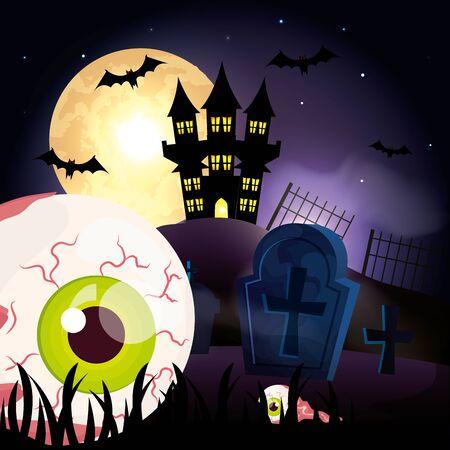 scary eye in the dark night halloween scene vector illustration design