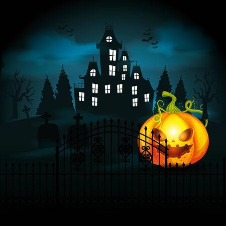 Calabaza de Halloween con castillo en la noche oscura, diseño de ilustraciones vectoriales Ilustración de vector