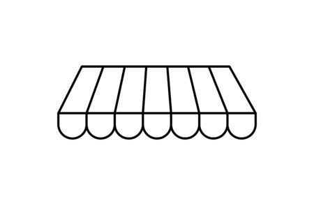 store facade parasol line style icon vector illustration design