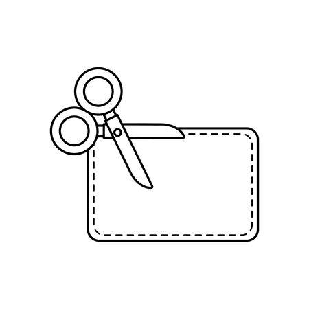 scissor utensil with paper line style icon vector illustration design Фото со стока - 135621044
