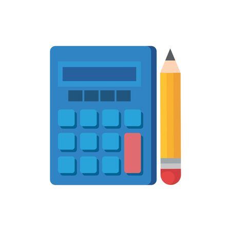 Calculator and pencil design, Tool mathematics finance device electronic education and office theme Vector illustration 일러스트