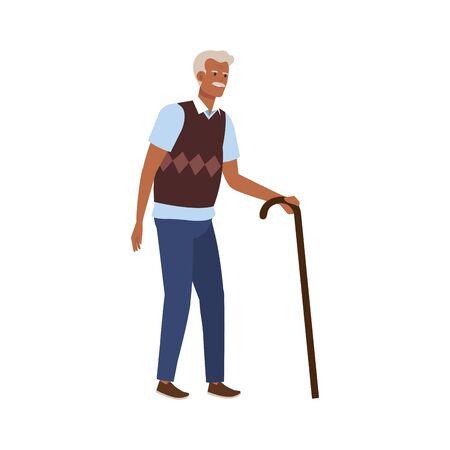old man elegant with cane avatar character vector illustration design Ilustração