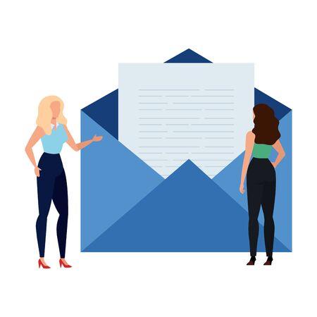Conception d'enveloppes et de femmes, courrier électronique, lettre de message, carte de communication marketing et thème du document, illustration vectorielle