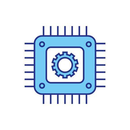 Conception d'engrenages et de cartes mères, travaux de construction, industrie de la technologie des pièces de machines de réparation et thème technique Illustration vectorielle