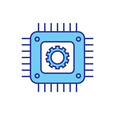 Gear and motherboard design, construction work repair machine part technology industry and technical theme Vector illustration
