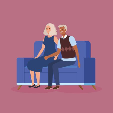 grandparents couple sitting in sofa avatar character vector illustration design Vettoriali