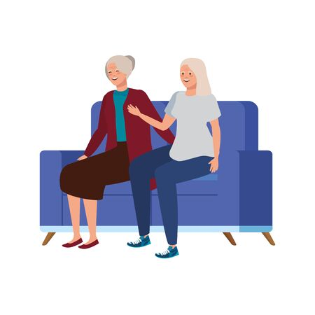 old women seated in sofa avatar character vector illustration design