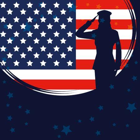Silhouette femme militaire avec usa flag vector illustration design Vecteurs