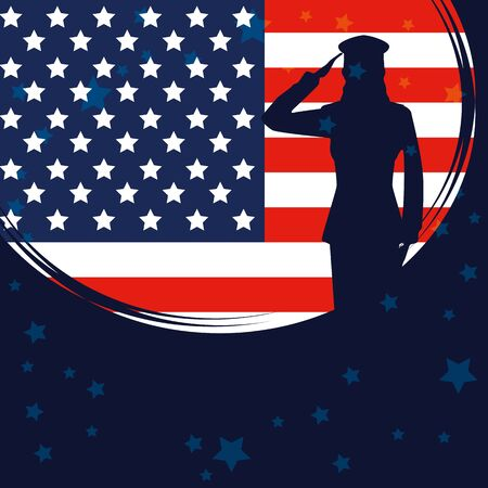 Silueta de mujer militar con diseño de ilustración de vector de bandera de Estados Unidos Ilustración de vector