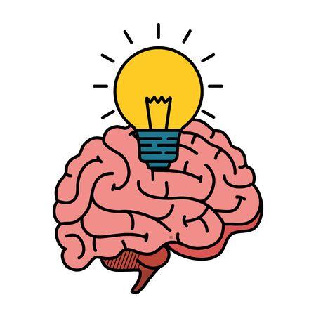 brain human with bulb vector illustration design Illustration
