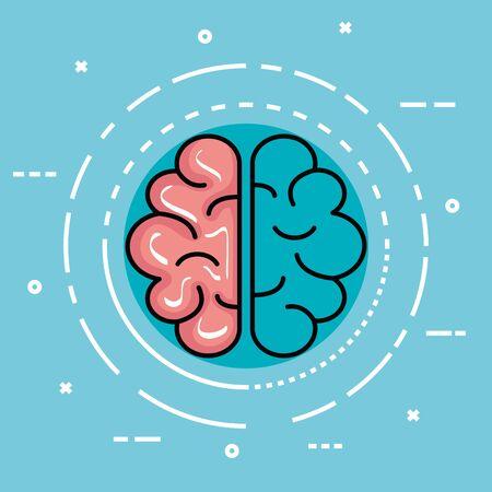 etiqueta con cerebro de salud y mente creativa ilustración vectorial