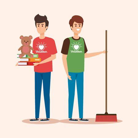 garçons avec un balai et des livres avec illustration vectorielle de don en peluche Vecteurs