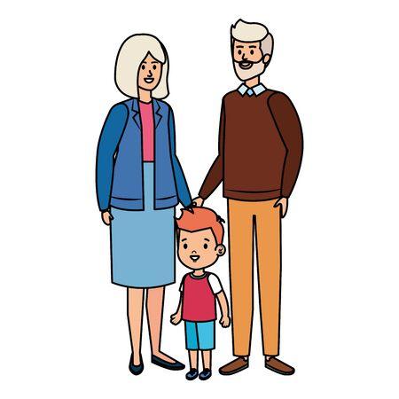 cute grand parents couple with grandson vector illustration design