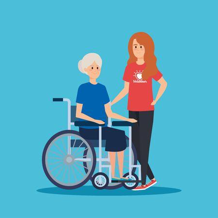 Fille bénévole avec vieille femme dans l'illustration vectorielle en fauteuil roulant Vecteurs