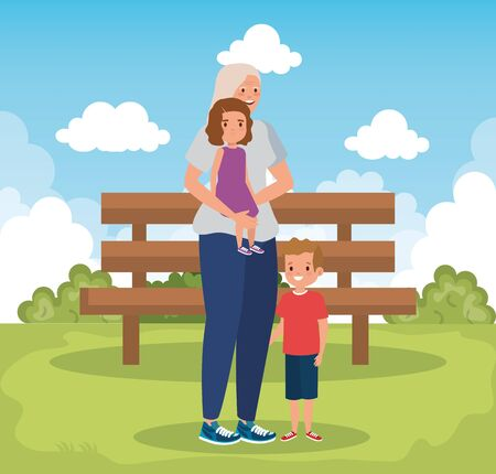 grandmother with grandchildren in park scene vector illustration design
