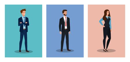 group of business people avatar character vector illustration design