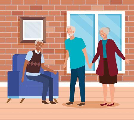 group old people indoor house scene vector illustration design Illusztráció