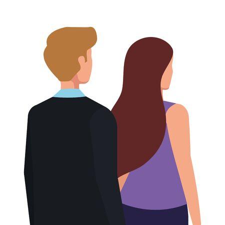 back business couple elegant avatar character vector illustration design Illusztráció
