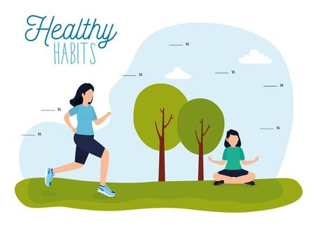 healthy lifestyle poster with athletes in park vector illustration design