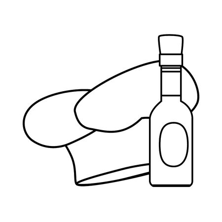 delicious sauce in bottle with hat chef line style icon vector illustration design