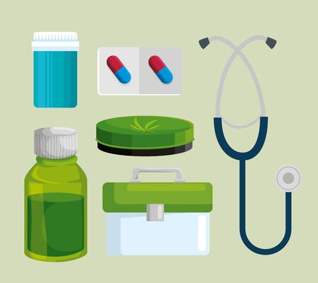 set of pills bottle with cannabis ointment and stethoscope vector illustration