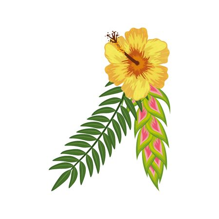 cute flower with branches and leafs isolated icon vector illustration design  イラスト・ベクター素材