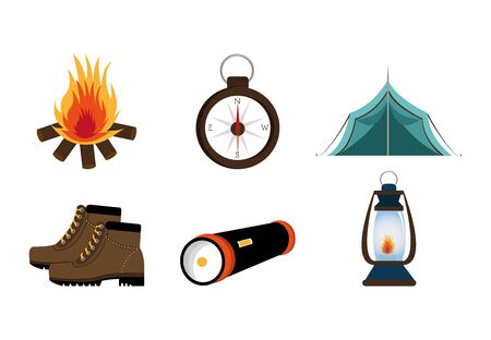 bundle equipment camping set icons vector illustration design  イラスト・ベクター素材