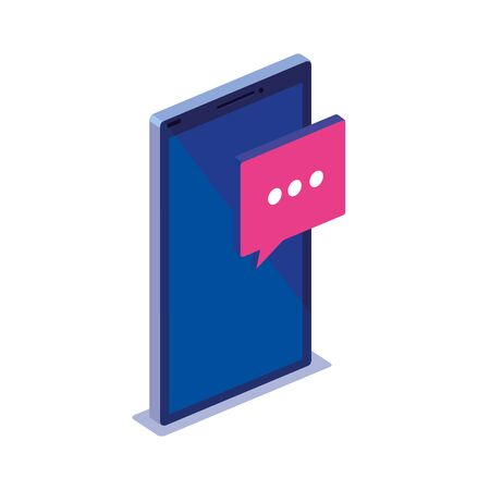 Smartphone and bubble design, Digital technology communication social media internet and web theme Vector illustration