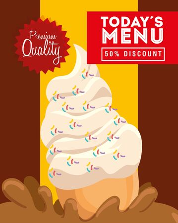 poster premium quality authentic delicious ice cream vector illustration design 向量圖像