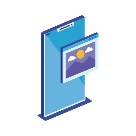 Smartphone design, Digital technology communication social media internet and web theme Vector illustration