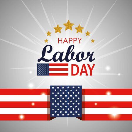labor day celebration with usa flag vector illustration  イラスト・ベクター素材