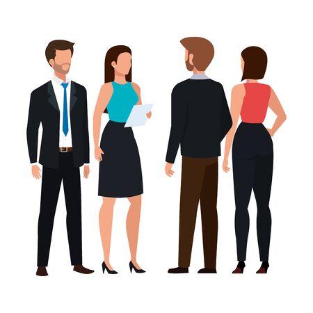 ludzie biznesu spotykający się z awatarem postaci wektor ilustracja projekt