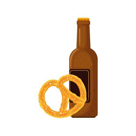 Oktoberfest beer and pretzel design, Germany festival celebration europe landmark munich culture and party theme Vector illustration  イラスト・ベクター素材