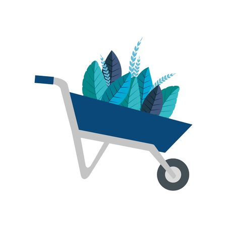 Wheelbarrow with leaves design, Garden summer spring nature home and floral theme Vector illustration