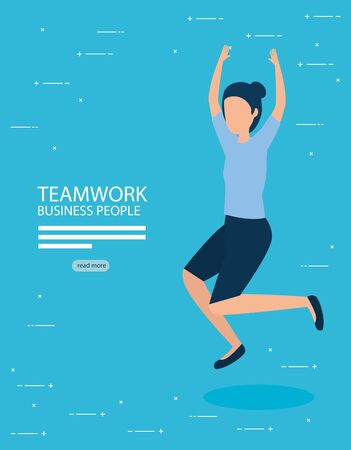 Businesswoman design, Teamwork businesspeople support collaborative cooperation work unity and idea theme Vector illustration