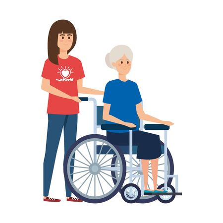 young woman volunteer with old woman in wheelchair vector illustration design