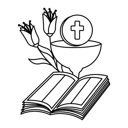 holy bible with chalice and flowers vector illustration design Foto de archivo - 135765368