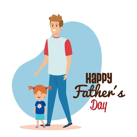 happy man with his daughter to fathers day vector illustration