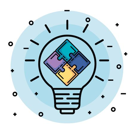 creative bulb idea with puzzles to memory vector illustration  イラスト・ベクター素材