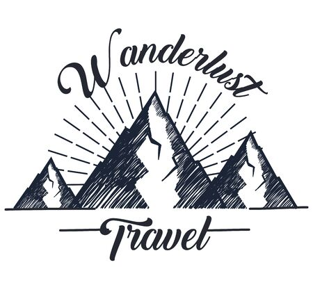 snowy mountains to wanderlust travel adventure vector illustration Banque d'images - 135767056